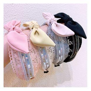 Korean lace mesh yarn bow hair hoop Mori super fairy hair belt face wash non-slip pressure hair wide-brimmed headband hair bundle NHHD217371's discount tags