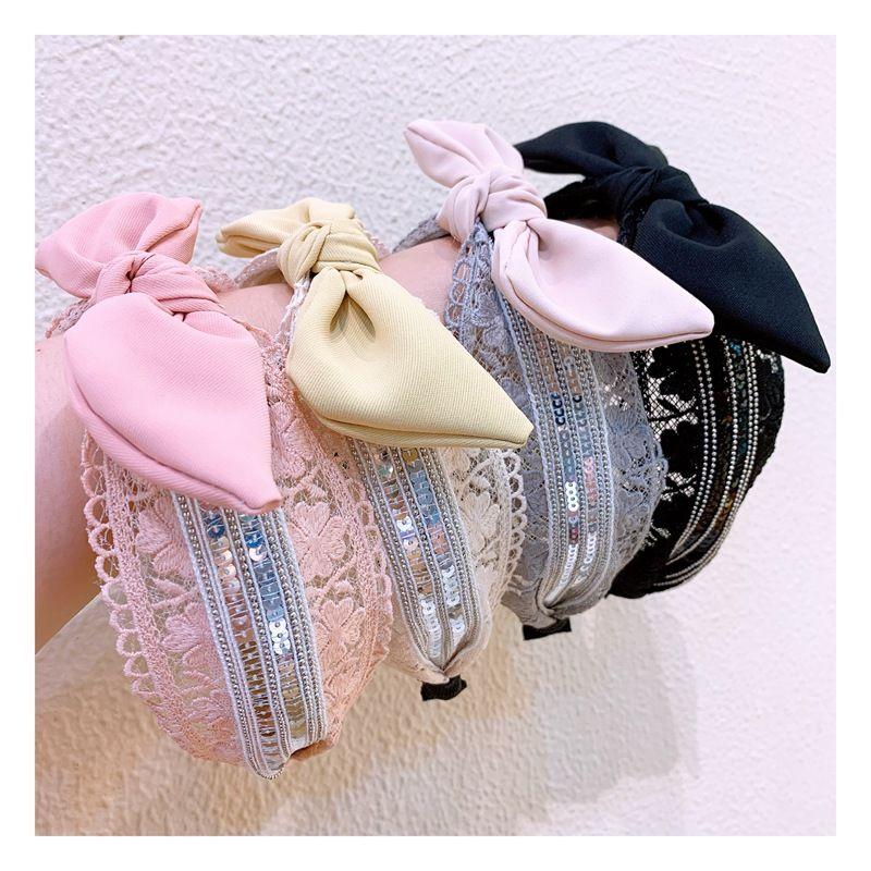 Korean lace mesh yarn bow hair hoop Mori super fairy hair belt face wash non-slip pressure hair wide-brimmed headband hair bundle NHHD217371