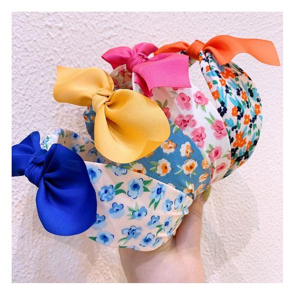 Korea original hair accessories floral headband idyllic fluorescent wide bow hairpin headband wholesale NHHD217373