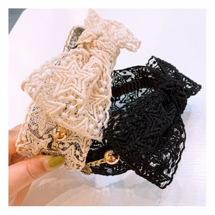 Korean lace hair hoop French retro star headband wide side hairpin super fairy forest red headband five-pointed star NHHD217374's discount tags
