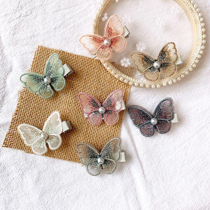 New embroidery threedimensional bow hairpin super fairy pearl mesh hairpin bangs clip decorative clip girl hair accessories NHSA217375