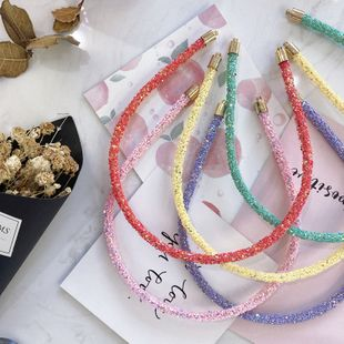 Korea band simple candy color sequins fine-edged wire headband hair bundle DIY hair hole girl NHSM217390's discount tags