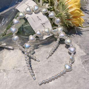 Korean fashion pearl headband simple bride flower peach heart headband new girl fashion wild thin edge headband headdress NHSM217391's discount tags