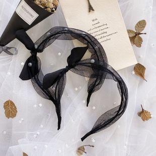 Korean fashion  organza pearl hair band simple polka dot bow rabbit ears thin headband fashion wild hair hole headdress NHSM217392's discount tags
