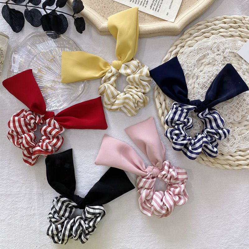 hair ring new plaid color cloth pig fat bow hair rope headdress scrunchies wholesale NHSM217393