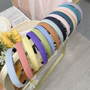 Korean fashion  candy color sponge hair hoop solid color bm fine-edged fabric headband fashion wild hair hole  NHSM217395's discount tags