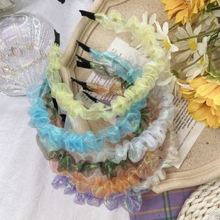 Korean style  mermaid  fold headband retro candy color wave headband lace French fabric hair accessories hair hole NHSM217396's discount tags