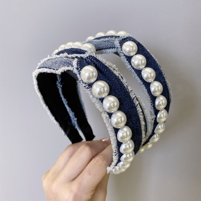 Korean fashion pearl headband simple denim knotted cross wide-brimmed headband fashion girl hair band wholesale hair accessories NHSM217397