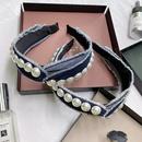 Korean fashion pearl headband simple denim knotted cross widebrimmed headband fashion girl hair band wholesale hair accessories NHSM217397