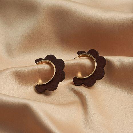 boucles d'oreilles grand cercle mode rétro personnalité boucles d'oreilles en métal exagérées longue section en bois fleur boucles d'oreilles rondes NHYT217410's discount tags