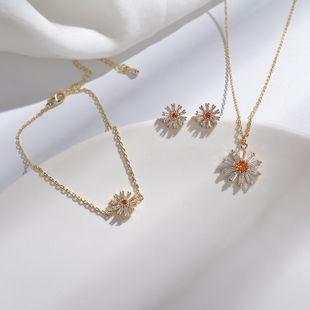 Sun Flower Necklace Small Daisy Diamond Pendant Forest Flower Earrings Jewelry Bracelet Jewelry Set NHYT217418's discount tags