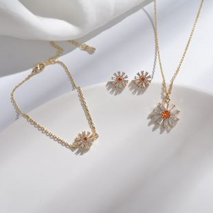 Sun Flower Necklace Small Daisy Diamond Pendant Forest Flower Earrings Jewelry Bracelet Jewelry Set NHYT217418's discount tags