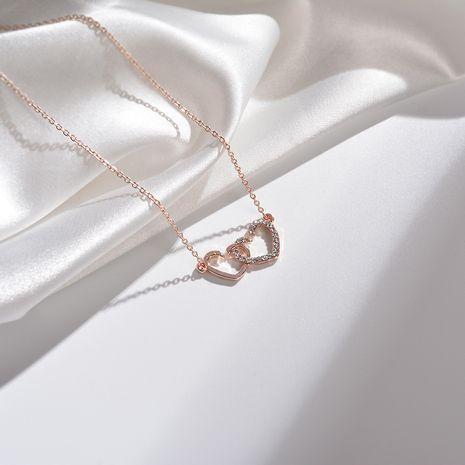 Collier de femmes coréennes en gros de nouveaux bijoux avec la même mode double coeur pendentif Mori simple collier d'amour NHYT217423's discount tags