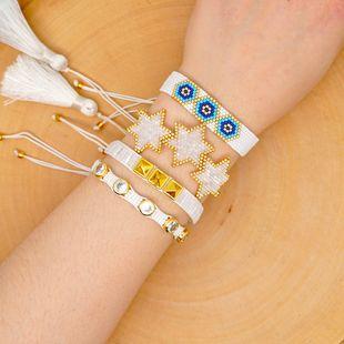 Pulsera de estrella de seis puntas de estilo étnico, cuentas de arroz Miyuki tejen remaches malvados, cuerda de amistad, joyas de diamantes NHGW217424's discount tags