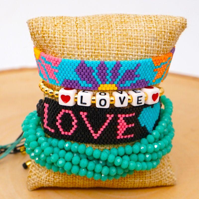 fashion ethnic crystal bracelet Miyuki rice beads hand-woven Turkish evil eye tassel jewelry NHGW217426