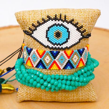 fashion ethnic crystal bracelet Miyuki rice beads hand-woven Turkish evil eye tassel jewelry NHGW217427's discount tags