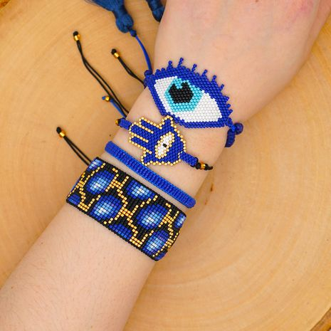 national style evil eye crystal tassel with Miyuki rice beads hand-woven leopard bracelet NHGW217428's discount tags