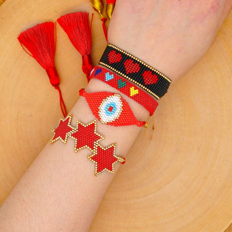 new Miyuki rice beads hand-woven evil eye with six-pointed star love suit national style bracelet NHGW217431's discount tags