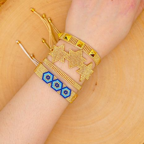 national style six-pointed star with Miyuki rice beads hand-woven Turkish eye suit bracelet NHGW217432's discount tags