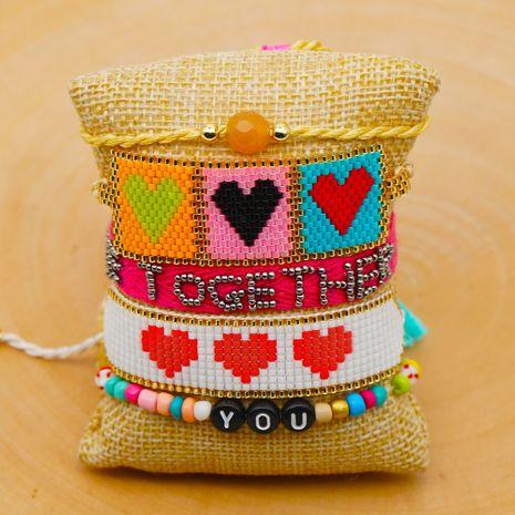 bohemian ethnic wind ribbon tassel with Miyuki rice beads woven love bracelet jewelry NHGW217433's discount tags