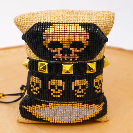 Miyuki rice beads woven evil eye female bracelet fashion ethnic style skull set rivet nihaojewelry NHGW217435's discount tags