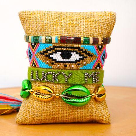 fashion ribbon bohemian ethnic shell bracelet women  Miyuki rice beads woven evil eye bracelet NHGW217436's discount tags