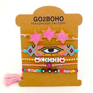 gema de la borla pulsera bohemia estilo étnico AMOR pulsera Miyuki cuentas de arroz tejen joyas del mal de ojo NHGW217437's discount tags