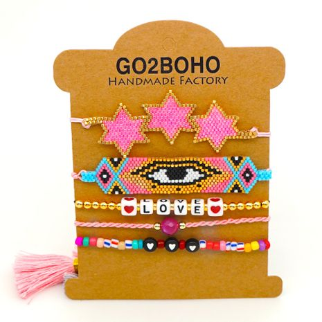 tassel gem Bohemian bracelet ethnic style LOVE bracelet Miyuki rice beads weave evil eye jewelry NHGW217437's discount tags