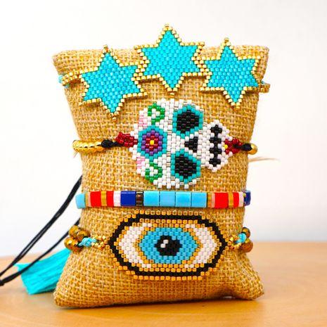 personality ethnic style six-pointed star crystal tassel bracelet Miyuki rice beads woven evil eye bracelet NHGW217438's discount tags