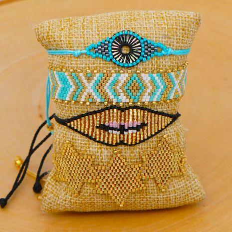 bohemian national style six-point star lips bracelet wholesale Miyuki rice beads woven evil eye bracelet NHGW217439's discount tags