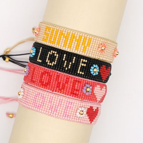 2020 summer simple Miyuki Japan imported Miyuki rice beads hand-woven SONNY sunshine LOVE female bracelet NHGW217440's discount tags