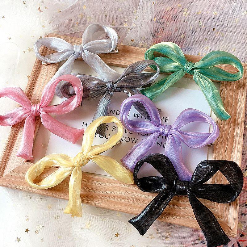 Korean pearlescent fabric solid color simple wild bowknot side clamp pressure clamp Liuhai clip hair ornament headdress NHHI217446