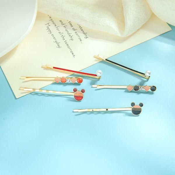 Moda coreana simple oso flequillo clip personalidad geométrica perla tocado temperamento salvaje palabra clip horquilla NHQD217449