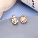 Small and simple diamond earrings style design round earrings cute creative pearl earrings wholesale NHQD217464