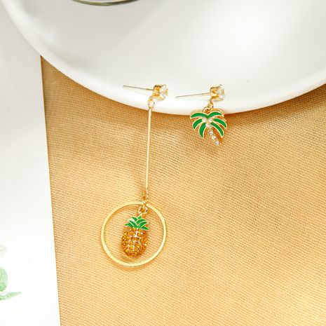 Creative cute asymmetric earrings s925 silver needle enamel glazed coconut earrings wild pineapple earrings wholesale NHQD217463's discount tags