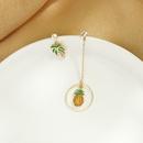 Creative cute asymmetric earrings s925 silver needle enamel glazed coconut earrings wild pineapple earrings wholesale NHQD217463
