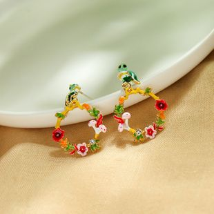Creative Enamel Glaze Owl Earrings Simple Earrings Flower Ear Studs wholesale NHQD217475's discount tags