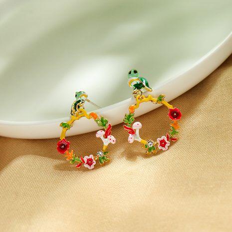 Creative Enamel Glaze Owl Earrings Simple Earrings Flower Ear Studs wholesale NHQD217475's discount tags