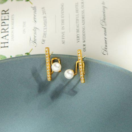 Korean fashion copper zircon diamond earrings niche pearl earrings wind creative letter earrings wholesale NHQD217479's discount tags