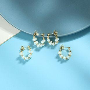 Pendientes de diseño coreano s925 aguja de plata serie Mori pendientes geométricos salvajes pendientes de perlas de temperamento al por mayor NHQD217481's discount tags