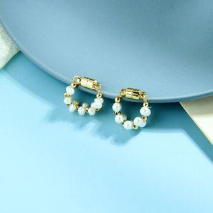 Moda coreana de pequeños y sencillos pendientes de diseño de nicho sentido geométrico sin piercing clip de hueso de oreja de perla salvaje al por mayor NHQD217482's discount tags