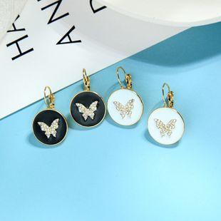 Pendientes de diamantes de cristal de sentido avanzado nicho pendientes de anillo de esmalte de esmalte simple pendientes de mariposa de súper hadas al por mayor NHQD217485's discount tags