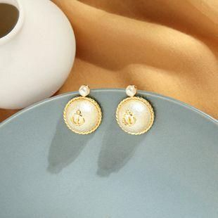 Moda coreana 925 pendientes de plata con diseño creativo sentido ancla de perlas pendientes geométricos femeninos pendientes redondos al por mayor NHQD217493's discount tags