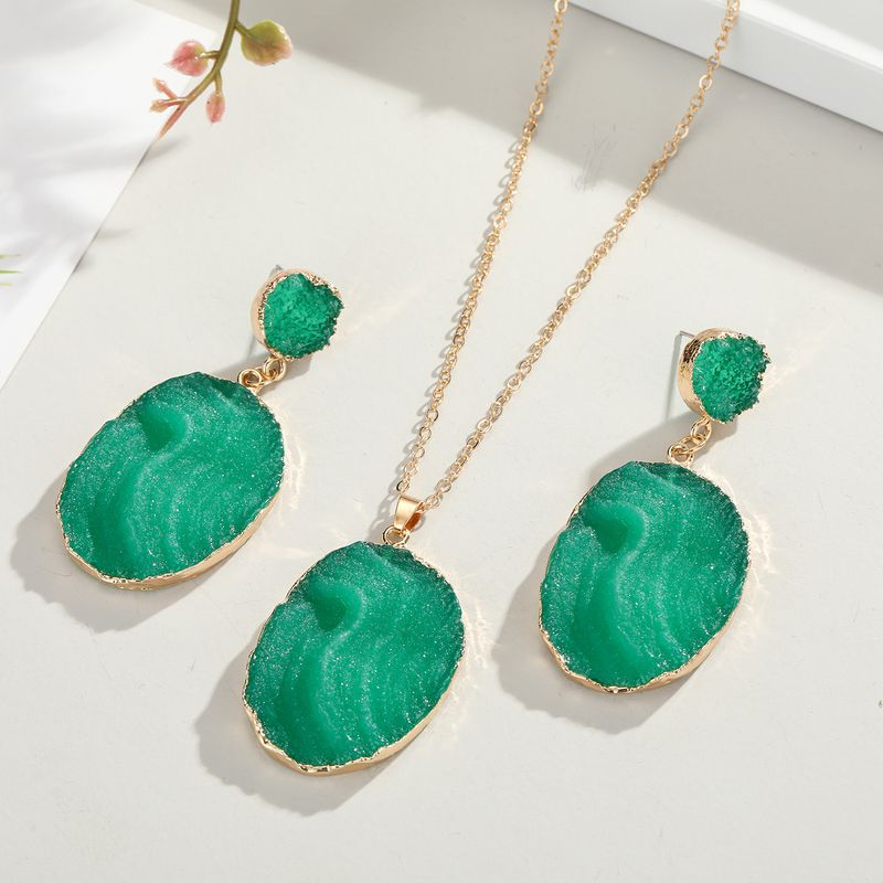 new long imitated agate earrings South Korea green earrings explosive products exaggerated resin earrings NHGO217502