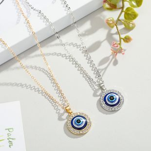 new original Turkish eye necklace point diamond round blue eyes pendant necklace sweater chain jewelry NHGO217506's discount tags