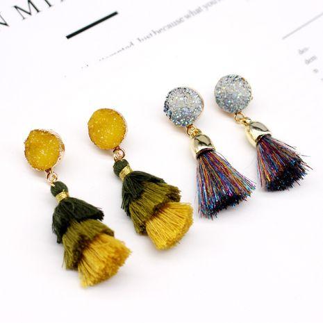 Pendientes de borla de piedra natural de imitación de joyería de moda pendientes de múltiples capas pendientes de resina de imitación de cristal NHGO217515's discount tags