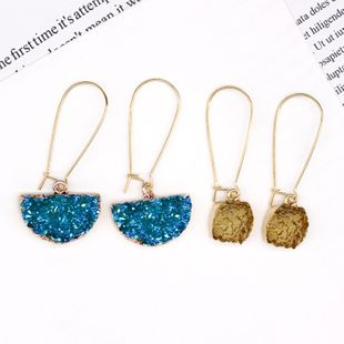 wholesale women's natural stone earrings imitation crystal bud semicircle earrings imitation natural stone earrings square earrings Yiwu NHGO217524's discount tags