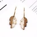 Fashion jewelry simple wood earrings leaves wood resin earrings ear hook foreign trade gold foil frosty earrings NHGO217525