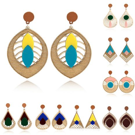 African wood earrings water droplets multi-layer plate earrings retro acrylic wood earrings wholesale NHGO217527's discount tags