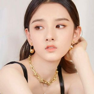 Golden chain necklace cold wind hip-hop exaggerated Korean trendy personality thick clavicle chain wholesale NHWK217536's discount tags